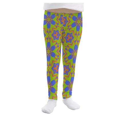 Blue, Green Girls Leggings  Geometric Florals  Lazy Daisy