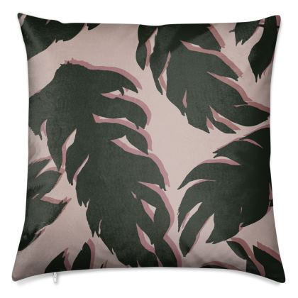 Pink and Brown Palm Tree Leaf Luxury Cushions