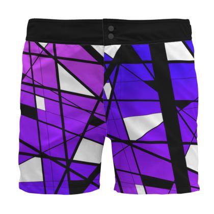Board Shorts in Geometric purple gradient