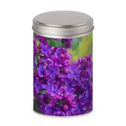 Floral Watercolor Lilac Cylinder Tins