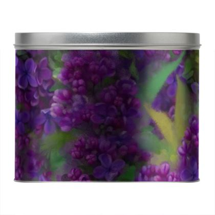 Floral Watercolor Lilac Round Tin