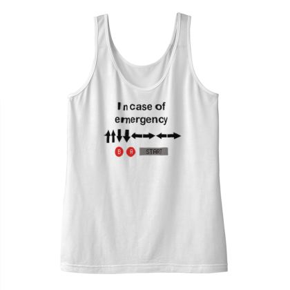Ladies Vest Top - In Case of Emergency - Use Cheat Code 2 (Black Text)