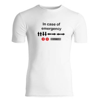 Slim Fit Mens T-Shirt - In Case of Emergency - Use Cheat Code 2 (Black Text)