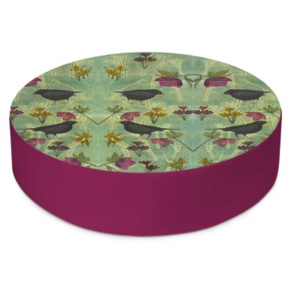 'My Little Green Space' Round Floor Cushions