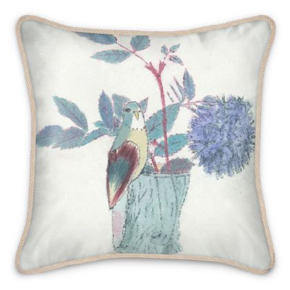 Luxurious, Silk, Budgie design cushion in soft blues and greens on an ivory background.