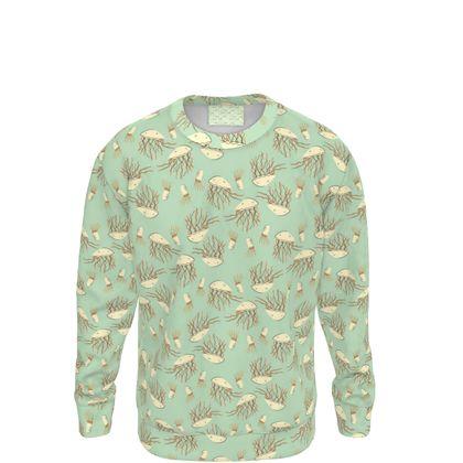 Aqua Blue Jellyfish Patterned Sweatshirt