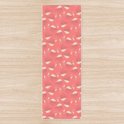 Rosy Jellyfish Pink Patterned Yoga mat