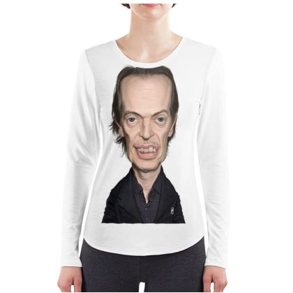 Steve Buscemi Celebrity Caricature ladies Long Sleeve Shirt