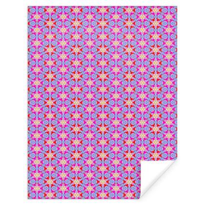 Red, Blue Gift Wrap  Geometric Florals   Nouveau