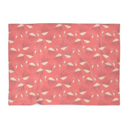 Rosy Jellyfish Pink Patterned Blanket