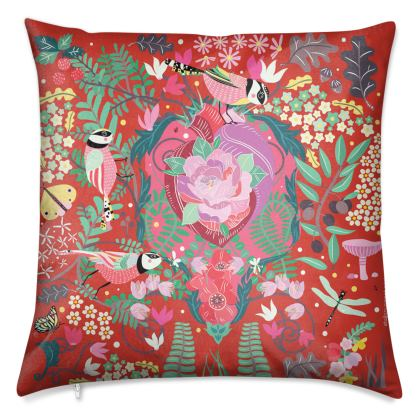 The Secret Garden Coral Red Luxury Cushions