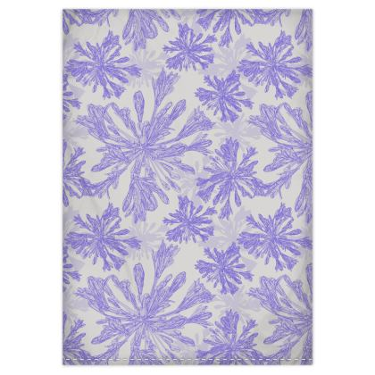 Agapanthus Luxury Collection (White - Blue Line) - Floral Print Quilt & Pillow Case Set