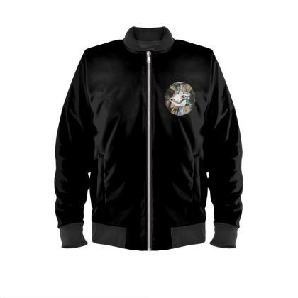 Mens Bomber Jacket - Cow Skull on Colourful Background