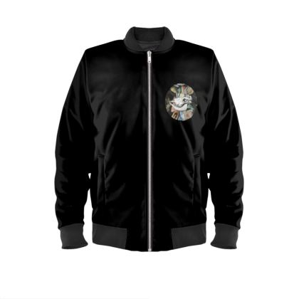 Ladies Bomber Jacket - Cow Skull on Colourful Background