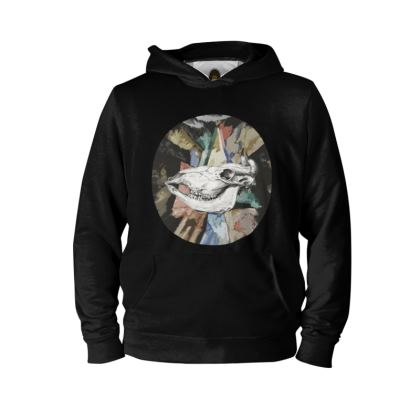 Hoodie - Cow Skull on Colourful Background