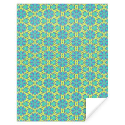 Turquoise, Yellow Gift Wrap  Geometric Florals   Hidden Gems