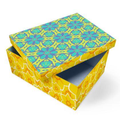 Turquoise, Yellow Photo Box  Geometric Florals   Hidden Gems