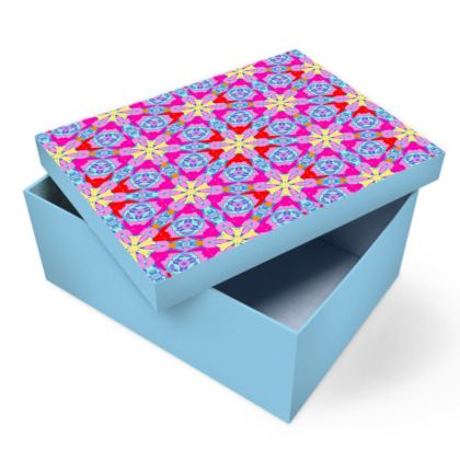 Red, Blue Photo Box  Geometric Florals  Nouveau