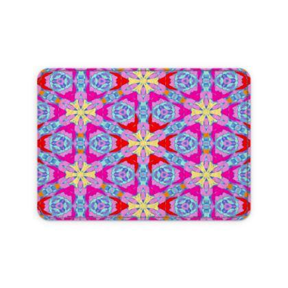 Red, Blue Leather Card Case  Geometric Florals   Nouveau