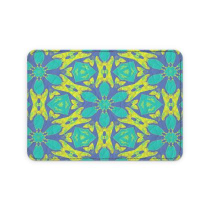 Turquoise, Yellow Leather Card Case  Geometric Florals  Hidden Gems
