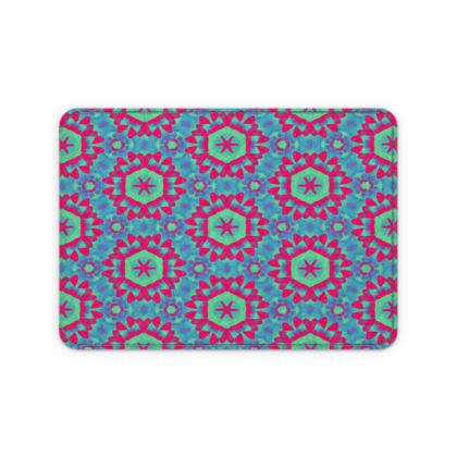 Blue, Red Leather Card Case  Geometric Florals   Tooth Fairy