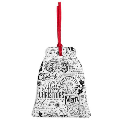 Black and White Typography Christmas Ornaments