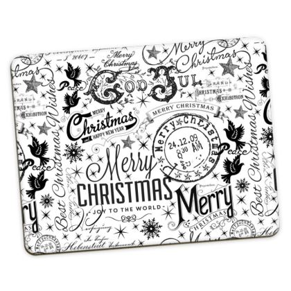 Black and White Typography Xmas Placemats