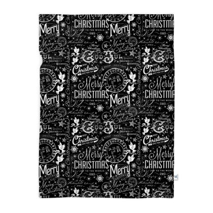 Black and White Typography XmasPhoto Blanket