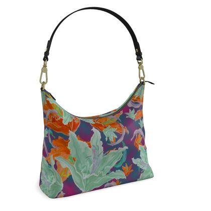 Green, Orange, Square Hobo Bag  Lily Garden   Magician