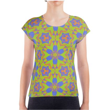 Blue, Green Ladies T Shirt  Geometric Florals   Lazy Daisy
