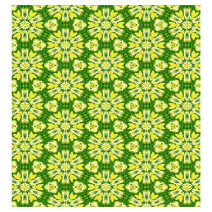 Green, Yellow Ladies T Shirt  Geometric Florals   Sunlight