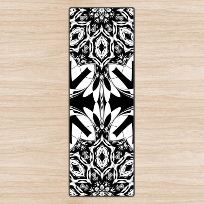 Abstract Black and White Yoga Mat