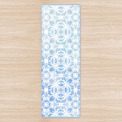 Abstract White and Blue Yoga Mat