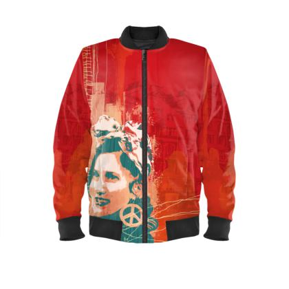 Red Bomber Jacket with Womens Power Print