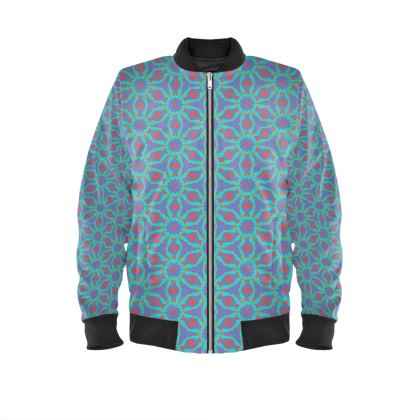 Blue, Red Mens Bomber Jacket  Geometric Florals   Temple