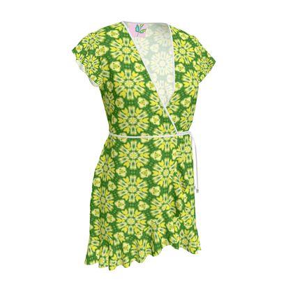 Yellow, Green Tea Dress  Geometric Florals  Sunlight