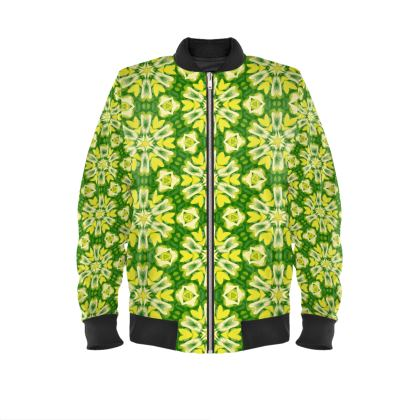 Mens Bomber Jacket  Geometric Florals  Sunlight