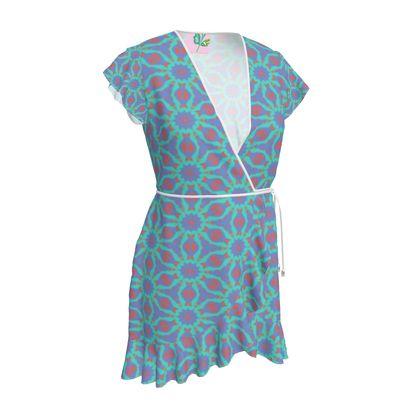 Blue, Red Tea Dress  Geometric Florals  Temple