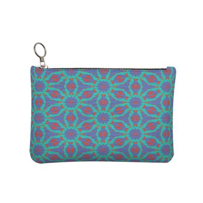 Blue, Red Leather Clutch Bag [small shown]  Geometric Florals   Temple