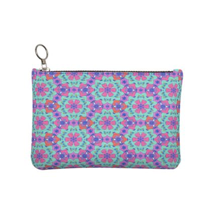 Pink, Blue Leather Clutch Bag [small shown]   Geometric Florals   Beehive
