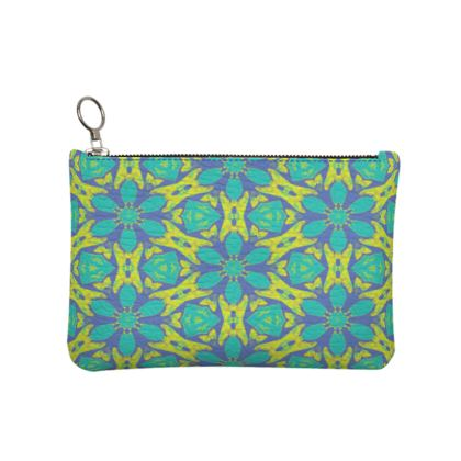 Turquoise, Yellow Textured Leather Clutch Bag [small shown]  Geometric Florals  Hidden Gems