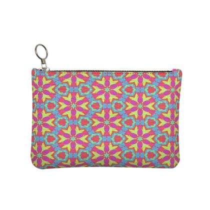 Pink,Blue Leather Clutch Bag [small shown]  Geometric Florals   Starflower