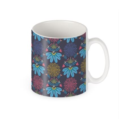 Blue Floral Craft Builders Mugs