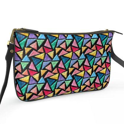 Pochette Double Zip Bag - Triangles