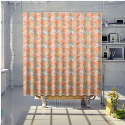 Orange Shower Curtain [large shown]   Etched Leaves   Sahara