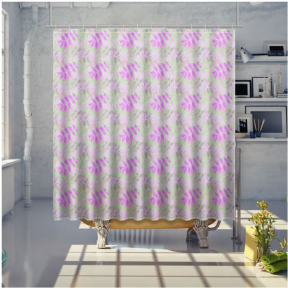 Mauve Shower Curtain  Etched Leaves   Currant