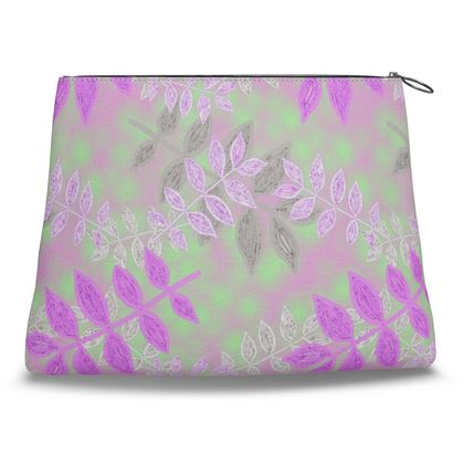 Mauve, Green Clutch Bag  Etched Leaves   Currant