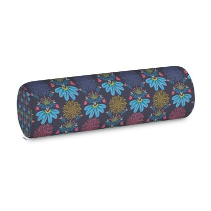 Blue Floral Craft Big Bolster Cushion