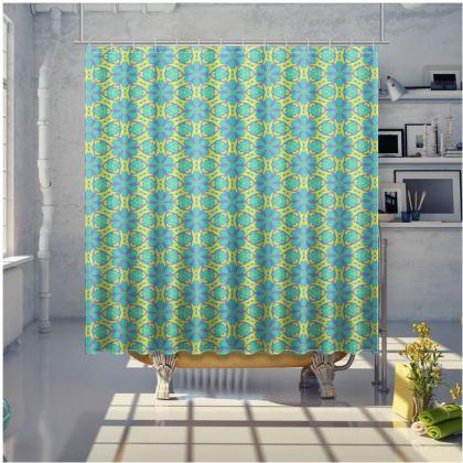 Green, Blue Shower Curtain  [large shown] Geometric Florals   Hidden Gems