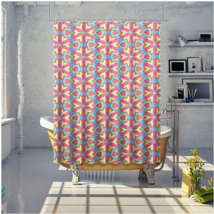 Pink, Blue Shower Curtain  Geometric Florals  Starflower